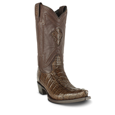 Men's Yeehaw Cowboy Caiman Tail Boots Brown Snip Toe Handcrafted - yeehawcowboy