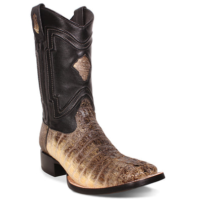 Men's Yeehaw Cowboy Caiman Tail Boots Raw Natural Handcrafted - yeehawcowboy