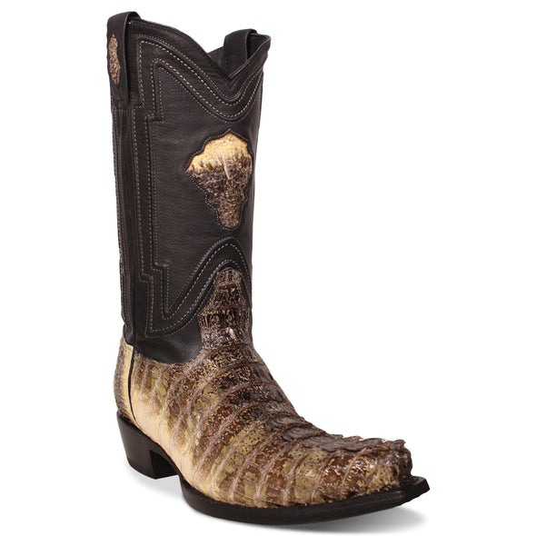 Men's Yeehaw Cowboy Caiman Tail Boots Raw Natural Snip Toe Handcrafted - yeehawcowboy