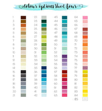 Crafty Cow Design - colour sheet chart