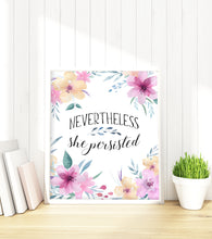 Nevertheless She Persisted Print, Motivational Poster, Inspirational Wall Art, Feminist Poster, Inspiring Wall Art, Baby Girl Nursery Decor