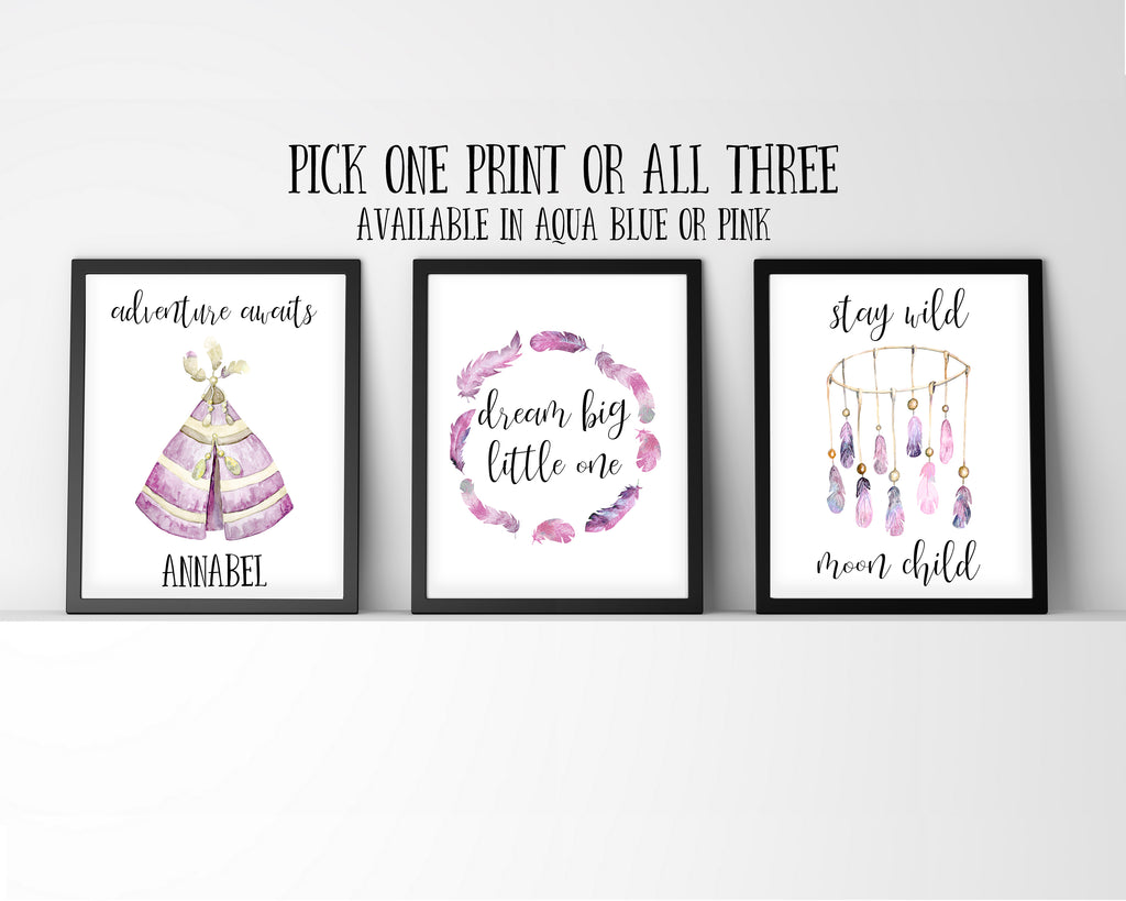 Dream Big Little One, Adventure Awaits, Stay Wild Moon Child, Personalised Nursery Prints, Nursery Print Set