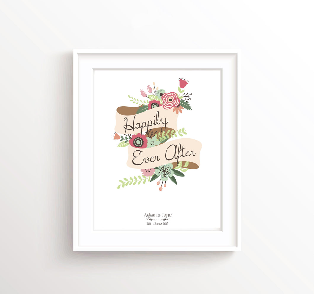 Happily Ever After Wall Art, Personalised Wedding Print Gift Idea, Custom Wedding Prints, Floral Art