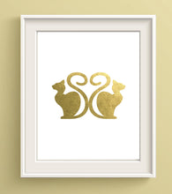Gold Foil Cat Art, Cat Prints UK, Cat Lover Gifts UK, Cat Wall Decor, Cat Gifts for Cat Lovers Women, Gold Foil Wall Art