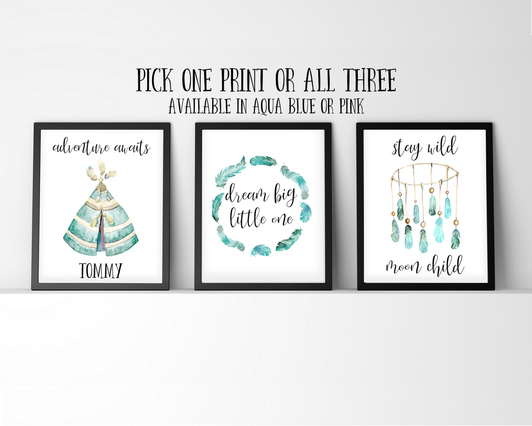 Adventure Nursery Decor, Nursery Art Print Sets, Nursery Quote Prints, Dream Big Little One, Adventure Awaits,