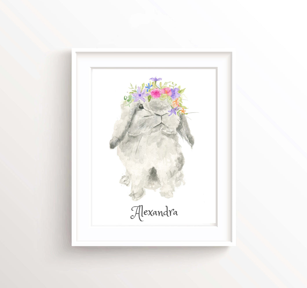 Bunny With Flower Crown Print, Personalised Text Nursery Wall Art