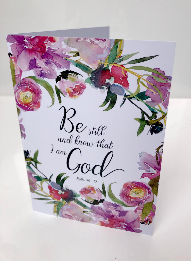 bible verse cards uk, scripture cards uk, be still and know greeting cards, floral scripture cards uk, christian cards
