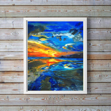 Sunset Pictures for Walls, Ocean Art Print, Pictures and Prints for Living Room, Blue Wall Art Print, sunset wall art