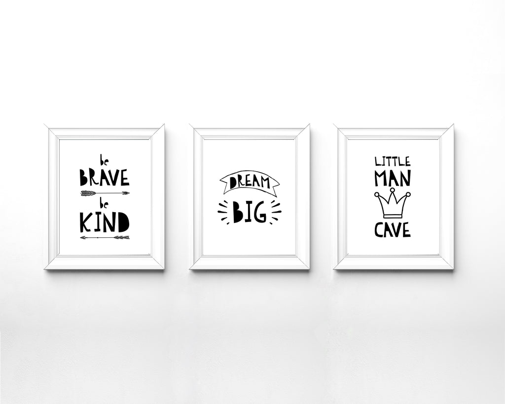 Black and White Nursery Boy Room, Little Man Cave Print, Little Man Cave Wall Art, dream big quotes black and white
