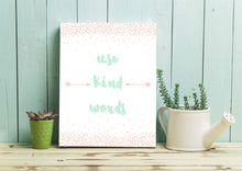 Girl Bedroom Wall Quotes, Girls Playroom Decor, Playroom Rules Sign, Peach and Mint Nursery Prints, Use Kind Words