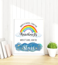 when it rains look for rainbows wall art, inspirational quotes, inspirational quotes for kids, inspirational pictures