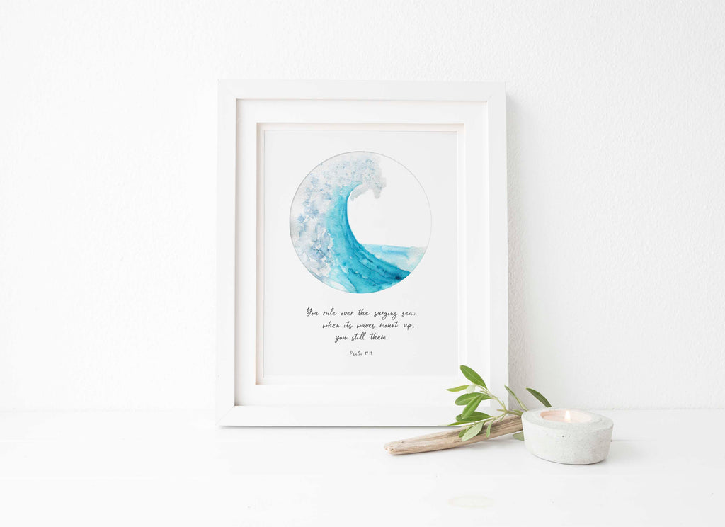 Ocean Themed Bible Verses, Bible Verse Sea Theme Unique Gifts for Christians, Custom Quote Prints UK, Custom Quote Poster, Bible Verse Art