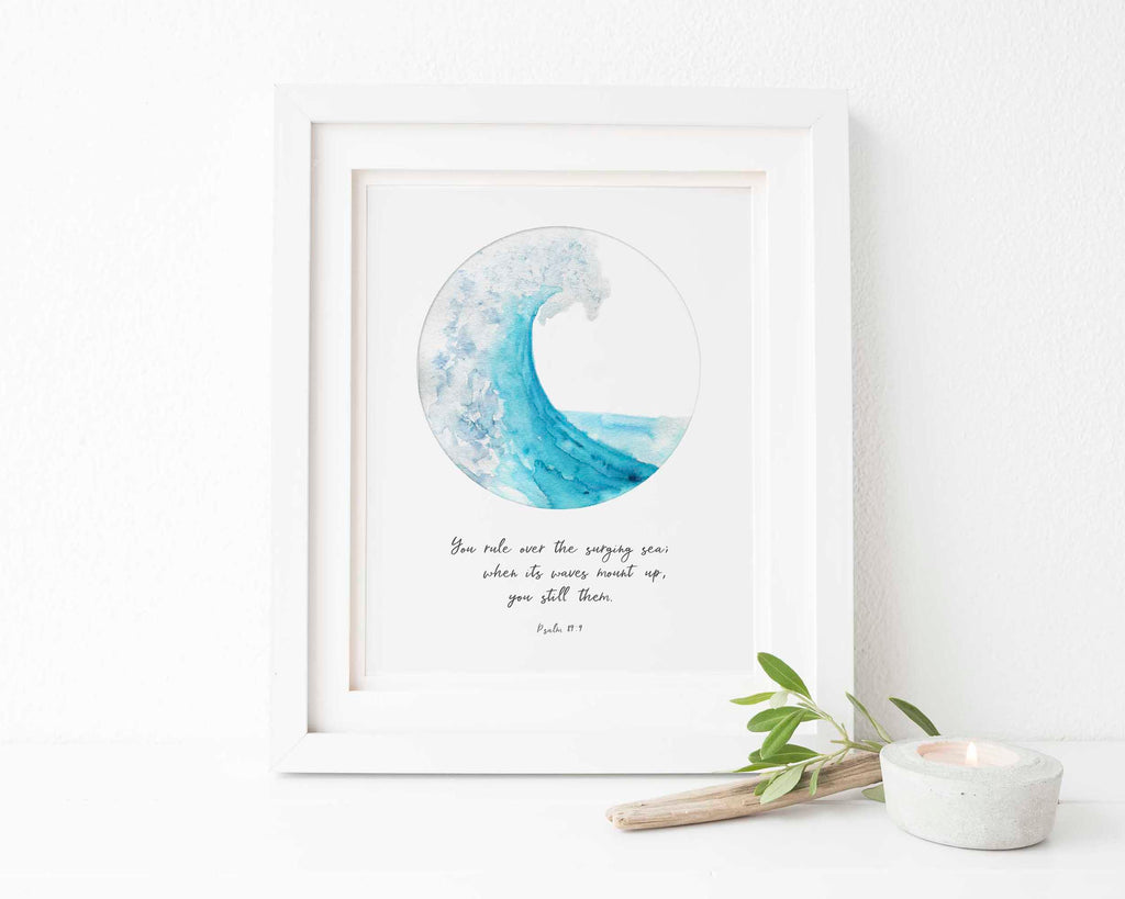 You Rule Over the Surging Sea, Psalms 89 Wall Art Ocean Bible Verse, Scripture Home Decor, Christian Quote Bible Verse