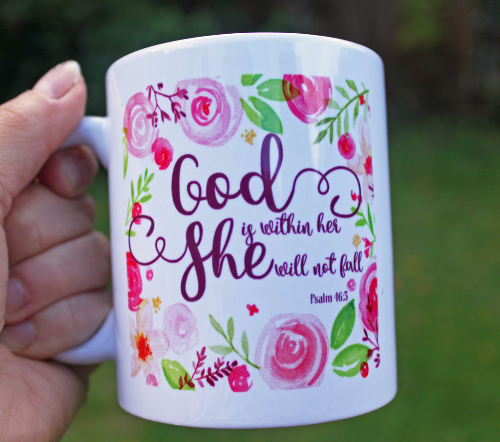 Inspirational Mug, Bible Verse Coffee Mug, Christian Mugs, Floral Mug