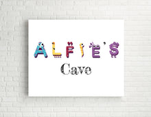 Cute Monster Nursery Prints, Boys Custom Name Print, Boys Room Decor, Personalised Name Wall Art for Nursery