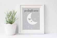Goodnight Moon, Good Night Kids Print, Star and Moon Print, Sleeping Moon Print, Goodnight Moon Print, Goodnight Moon Art Print
