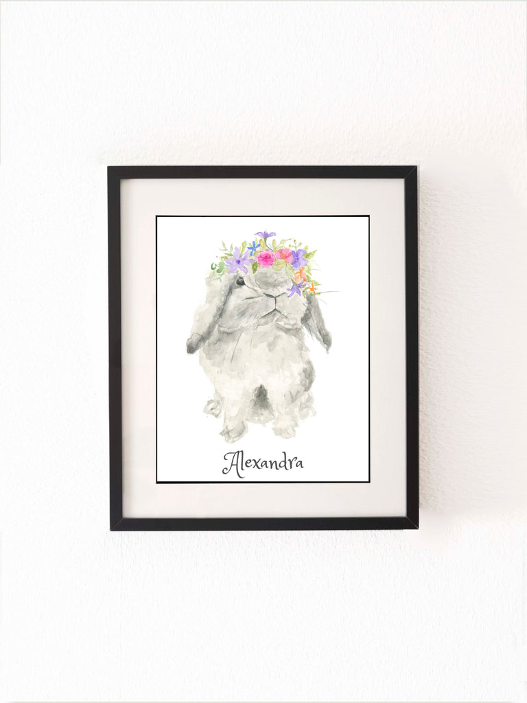 personalised bunny art, Personalised Name Wall Art for Nursery, Kids Name Wall Art Print, children's wall art prints