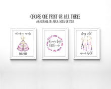 Nursery Quote Prints, Set of 3 Nursery Prints, Adventure Nursery Prints, Tribal Nursery Decor, Dream Catcher Nursery Art