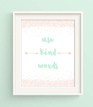 Little Girls Room Decor, Use Kind Words, Baby Peach Nursery Decor, new baby gifts, new baby girl gifts, new baby art