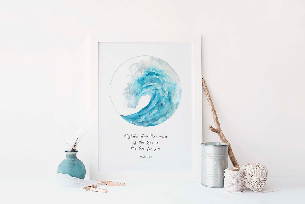 Mightier Than The Waves Bible Verse Print, Psalm 93 Ocean Wall Art, Christian Quotes, Scripture Wall Art Wave Wall Art