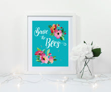 save the bees print, save the bees wall art, save the bees decor, save the bees art print