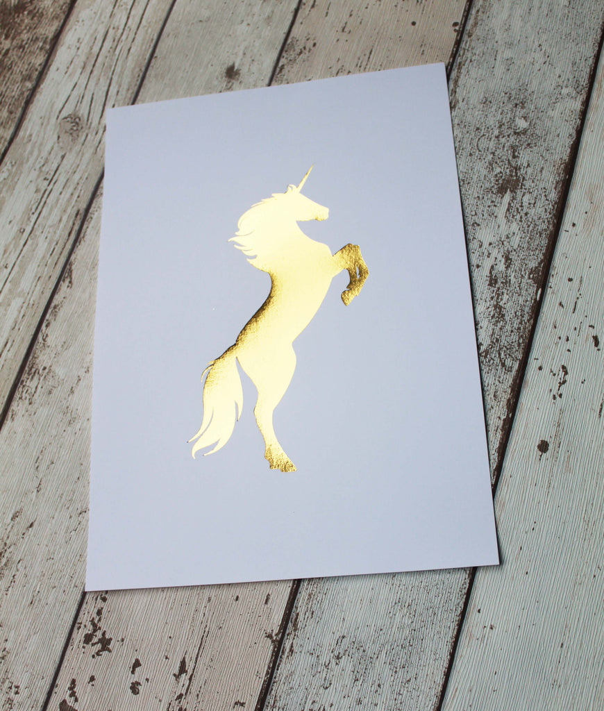 Gold Unicorn Wall Art, Unicorn Foil Art, Gold Unicorn Wall Art, Unicorn Nursery Print for Nursery, Unicorn Room Decor
