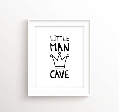 Little Man Cave Nursery, Boy Nursery Decor,  Nursery Decor, Boys Room Decor, Monochrome Print, Black and White Nursery Prints