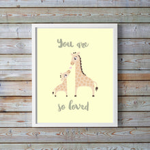 Giraffe Nursery Print, Unisex Giraffe decor, New Baby Gift, You are so loved, Yellow Nursery Prints, Unisex Baby Shower Gifts, Baby Animal