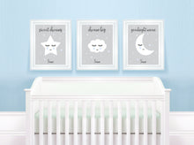 Blue Nursery Decor, set of 3 nursery prints uk, personalised nursery prints, children's prints uk, grey nursery prints