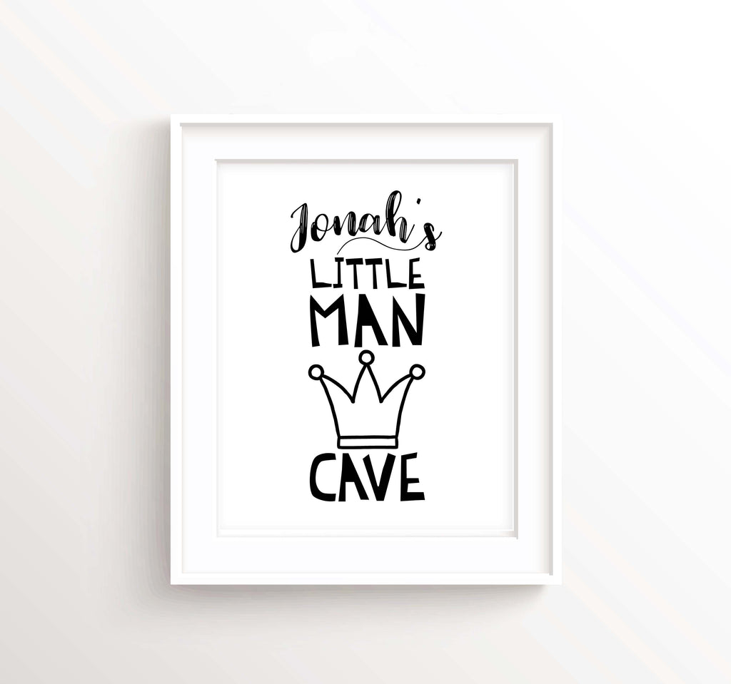Black and White Nursery Boy Room, Little Man Cave Print, Little Man Cave Wall Art, Monochrome Nursery Prints