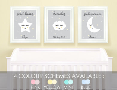 Stars and Moon Nursery Decor, Cloud Nursery Decor, Inspiring Nursery