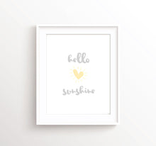 Hello Sunshine Print, Yellow and Grey Nursery Prints, Heart Nursery Decor, Hello Sunshine Wall Art, Hello Sunshine Decor