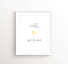 Sunshine nursery wall art, sunshine nursery decor, sunshine nursery print, grey and yellow nursery prints, hello sun