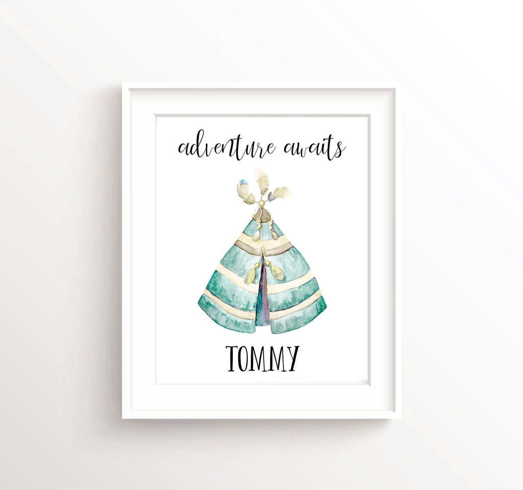 Teepee Nursery Theme, Teepee Nursery Decor,  Watercolour Nursery Art, Tribal Nursery Decor, Adventure Wall Art