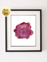 Custom Foil Print, Gift for Teen, Floral Print Art, Rose Gold Bedroom Decor, Rose Gold Quote, Gift for Teen,