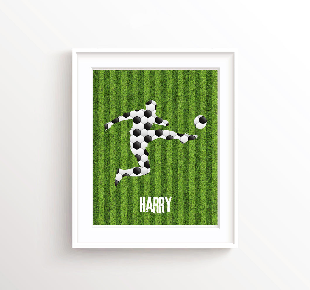 Personalised Football Wall Art, Soccer Art Prints, Boys Room Decor, Football Prints, Football Bedroom Decor Idea