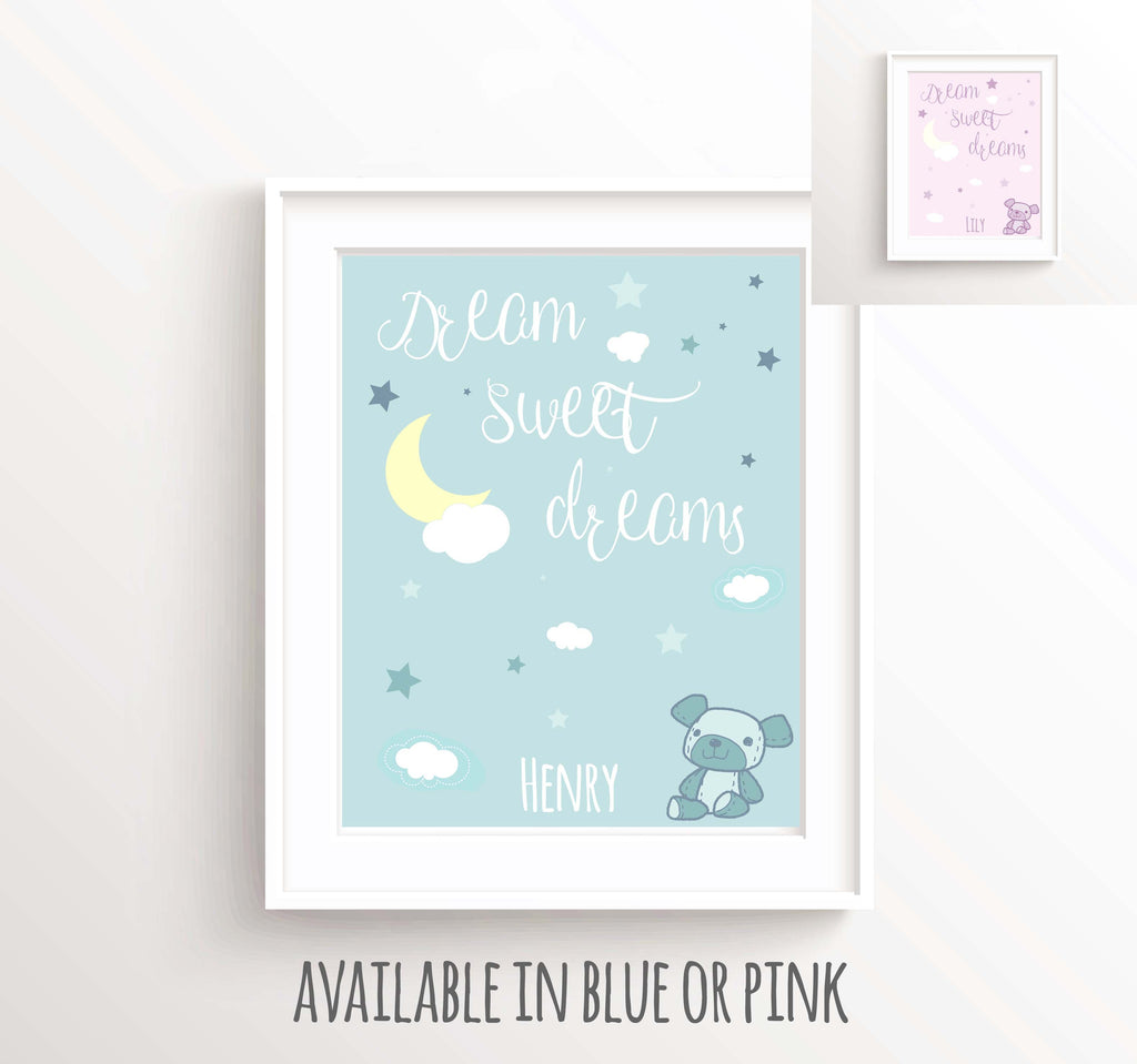 Moon and Stars Nursery Wall Art, Blue Nursery Picture, Pink Nursery Picture, Boy Wall Quotes, Stars and Moon Nurser