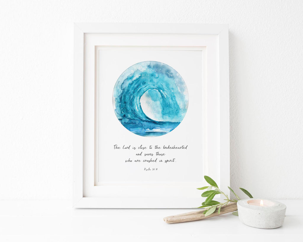 The Lord is Close to the Broken Hearted Print, Psalm 34 18 Wall Art, Watercolor Ocean Wave Wall Art, Bible Grief Gift