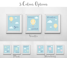 You Are Our Greatest Adventure Print Set, Hot Air Balloon Nursery