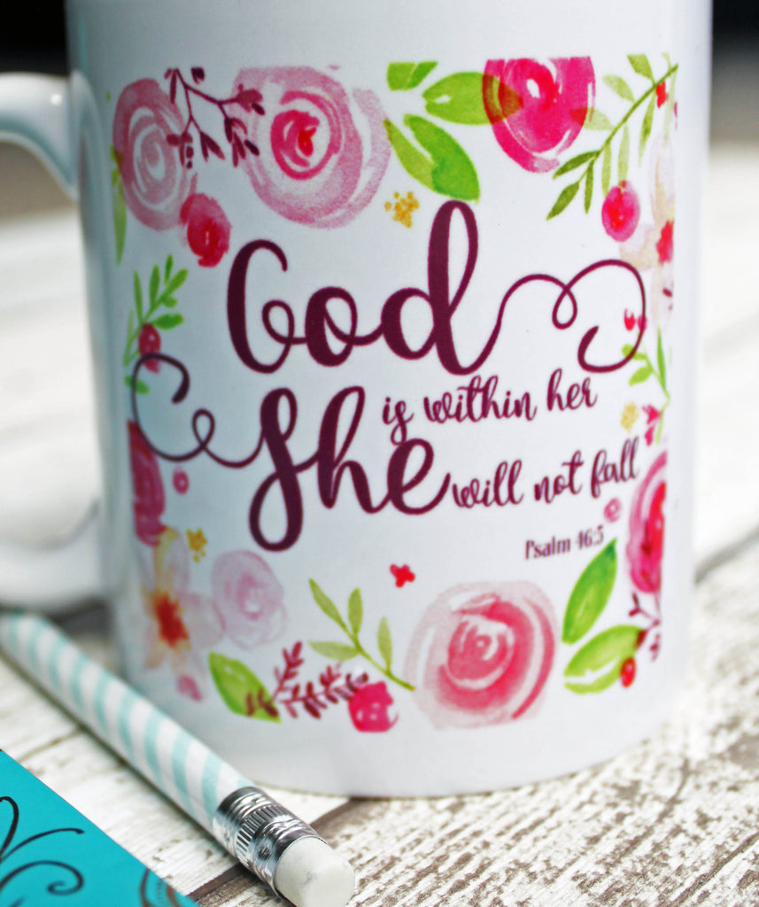 God is Within Her She Will Not Fall Mug Gift Idea, Christian Mugs UK
