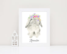 personalised bunny wall art nursery, Personalized Kids Name Picture, personalised bunny print, custom kids name wall art