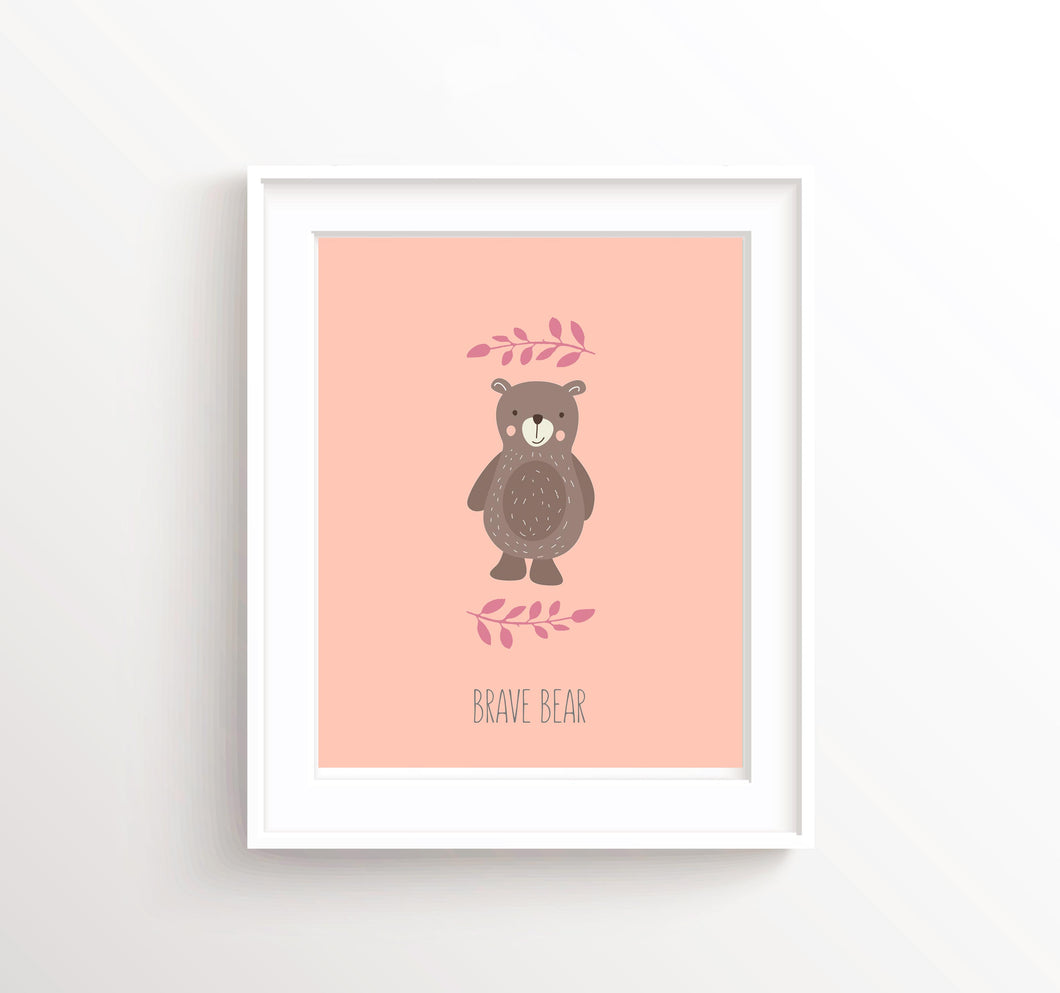Brave Bear Wall Art, Brave Bear Pictures, Baby Peach Nursery Decor, bear nursery decor, bear nursery print, bear art