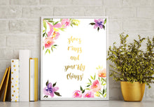 pink and gold floral wall art, white and gold floral wall art, teen girl wall decor, teen girl bedroom ideas