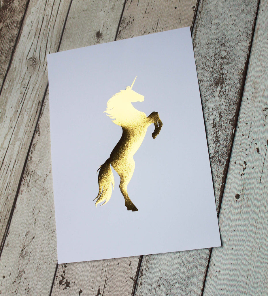 Rose Gold Art Print, Baby Girl Nursery Decor, Gold Foil Print, Unicorn Gifts for Women, Gold Foil Print, Unicorn Print