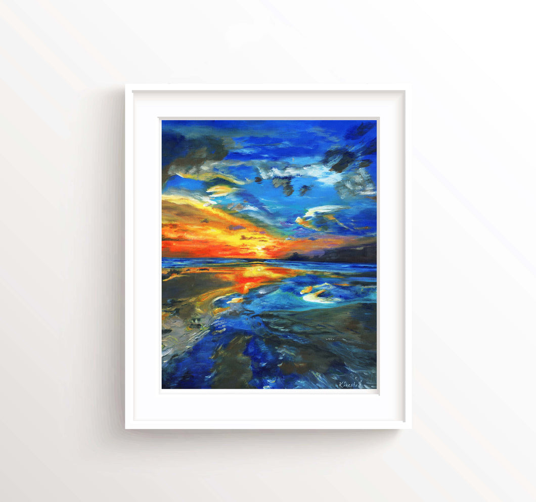 Beach Sunset Wall Art Pictures, Seascape Sunset Prints, Coastal Art, seascape sunset painting, wall art beach scenes