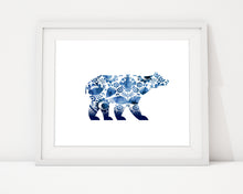 Polar Bear Art Print, Polar Bear Wall Art, Polar Bear Home Decor, Blue Polar Bear, Gzhel Wall Art, Bear Wall Art