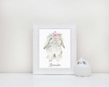 personalised rabbit print, personalised rabbit art, flower crown bunny print, bunny flower crown art, personalised kids