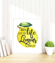 Prints for Kitchen Decor,Posters for Kitchen Art, Gin Print, Gin Poster, Lemons Kitchen Decor