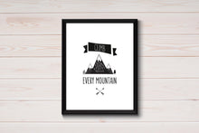 Climb Every Mountain Print, Adventure Wall Art Quotes for Boys, Black and White Kid Prints for Boys Bedroom, Camping Nursery Print, UNFRAMED