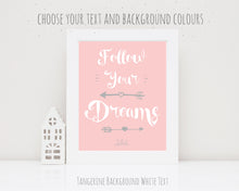 Follow Your Dreams Print, Inspirational Wall Art, inspiration quotes for girls, inspirational bedroom quotes, quote art